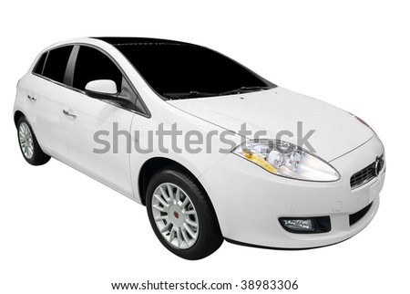 new car isolated on white - stock photo