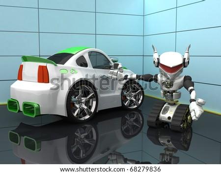 new car recycle energy - stock photo