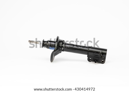 New car shock absorber for front and rear wheels of motor vehicles, isolated on white background. Concept - stock photo