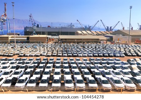 New cars lined up in the port