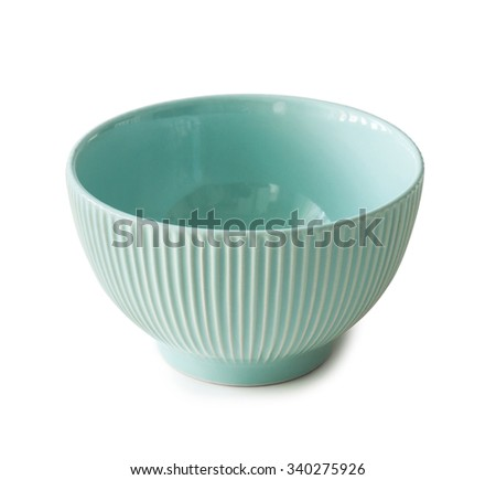 new ceramin empty bowl isolated on white background - stock photo