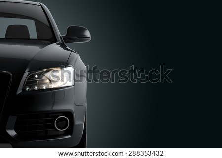 New CG 3d render of generic luxury detail black sports car driving illustration on a dark background. Mockup with stylized noise effects - stock photo