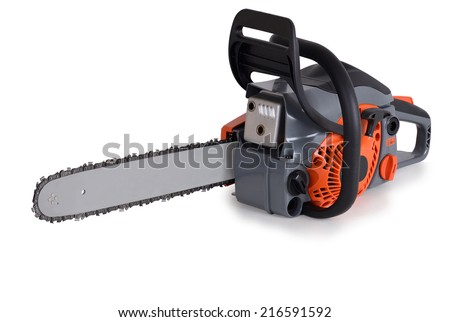 New chainsaw, on a white background. - stock photo