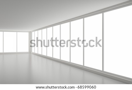 New clean interior, angle view, clipping path for windows included, 3d illustration - stock photo