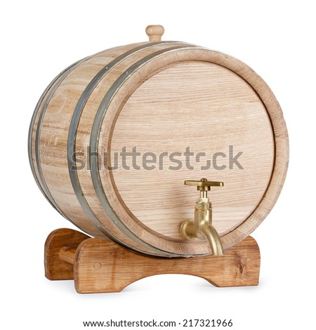 New clean oak wooden barrel on rack, isolated on white background, entire object in focus - stock photo