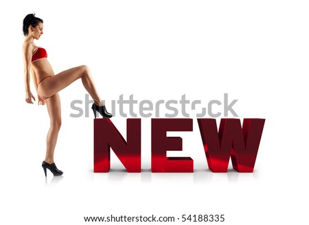 new collection concept - woman standing with a leg on a 3d word - stock photo
