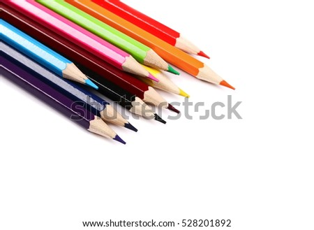new color pencils isolated on white