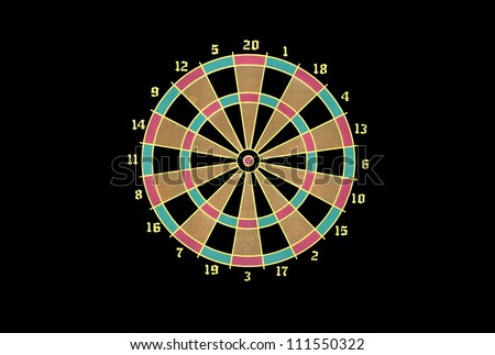 New colorful dart board on black background