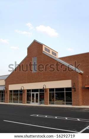 New Commercial Building with Retail and Office Space - stock photo