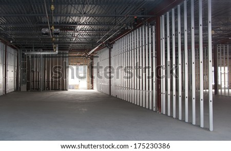 new commercial space under construction - stock photo