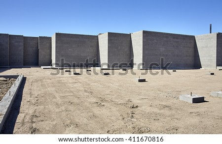 New concrete cement engineered foundation for home building construction industry - stock photo