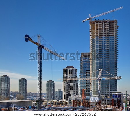 New construction of high-rise building in Burnaby city - stock photo