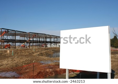 New Construction with a Billboard - stock photo