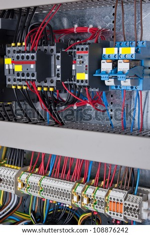 New control panel with static energy meters and circuit-breakers - stock photo