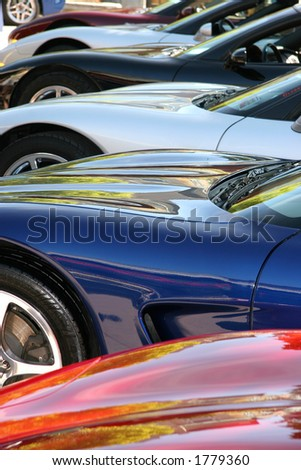New Corvettes in many different colors all lined up