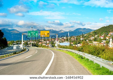 New Croatian highway leads to Zagreb, Croatia - stock photo
