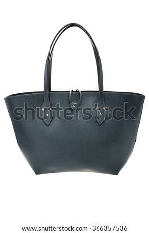 New dark green womens bag isolated on white background. - stock photo