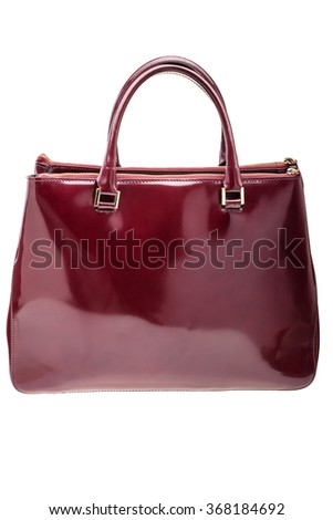 New dark red womens bag isolated on white background.