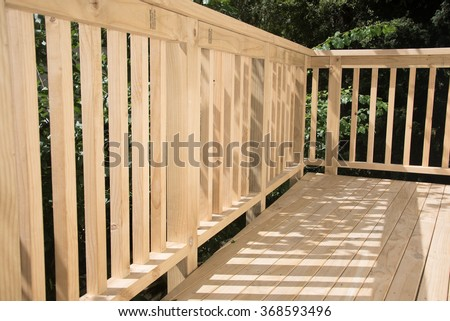 New deck patio built of wood, pine timber - stock photo