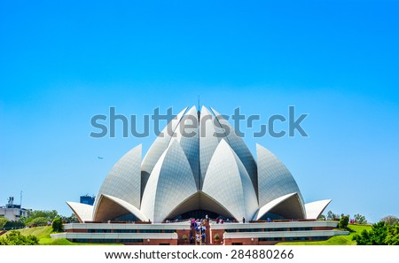 New Delhi, India - April 08, 2014: The House of Worship popularly known as the Lotus Temple due to its Lotus like structure in New Delhi, India