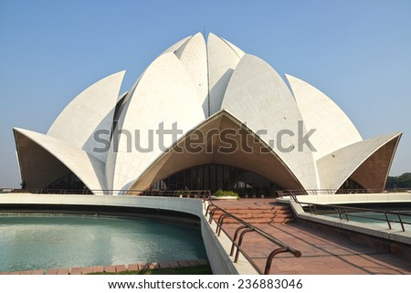New Delhi, India - December 5 2013: The Lotus Temple is a Bahai House of Worship completed in 1986
