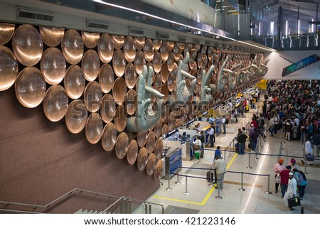NEW DELHI, INDIA - MARCH 06, 2015: Indira Gandhi International Airport serves as the primary civilian aviation hub for the National Capital Region of Delhi, India.