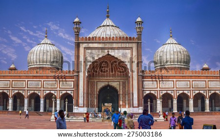 New Delhi, INDIA - MAY 27: View of the Jama Masjid at New Delhi, where lots of muslim visitors come for prayers and toursist visit to see the architecture, where this photo was taken on 27 May 2015.  - stock photo