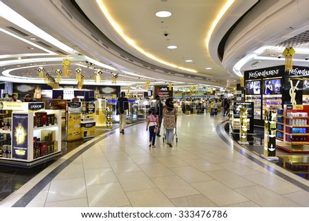 NEW DELHI - OCT 20: Duty free shops at the Internal Departure Terminal of Indira Gandhi International Airport on October 20, 2015 in New Delhi. The airport is the busiest airport in the country. - stock photo