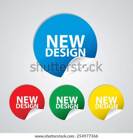 New Design colorful sign, icon, label, sticker and tag set. Special offer symbol. - stock photo