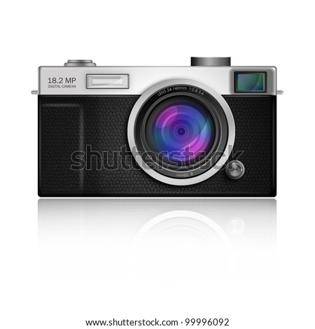 New Design of Digital Camera in Classic Style body,included clipping path - stock photo