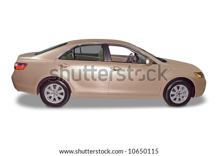 New 4-door hybrid sedan car isolated on a white background. Clipping path for the car only, minus the shadow, is included. - stock photo