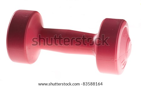 new dumbell isolated on a white background - stock photo