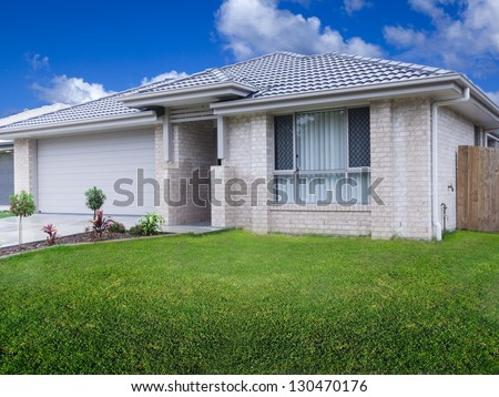 New duplex house front - stock photo