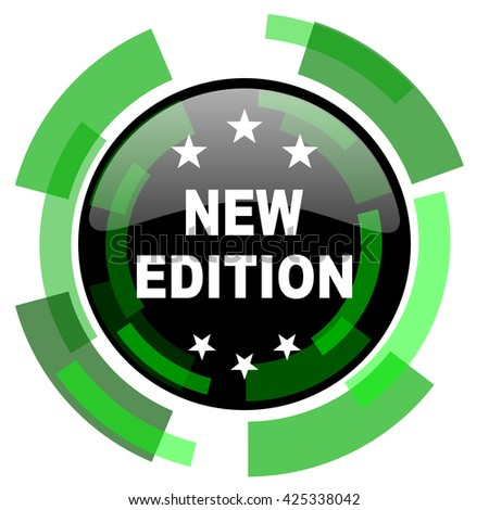 new edition icon, green modern design glossy round button, web and mobile app design illustration - stock photo
