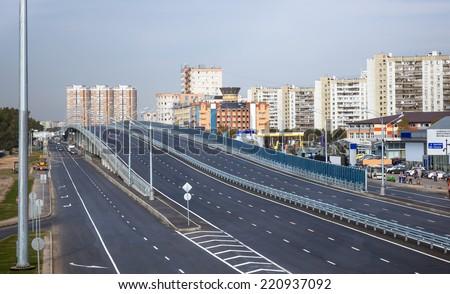 New elevated road in Kotelniki, Russia - stock photo