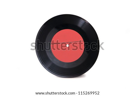 New empty red gramophone vinyl record isolated on white background