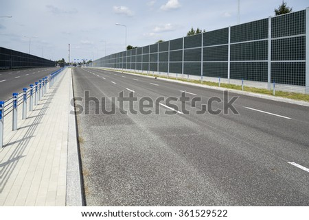 New empty road with guardrails, Poland - stock photo