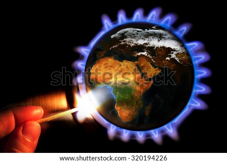 New energy for the planet. The Earth texture of this image furnished by NASA.