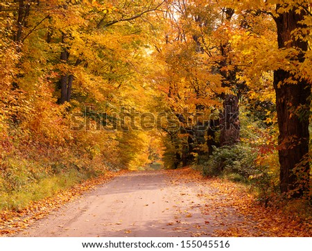 New England Autumn Road - stock photo