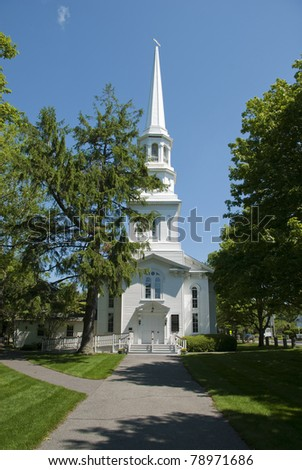 New England church in a small town