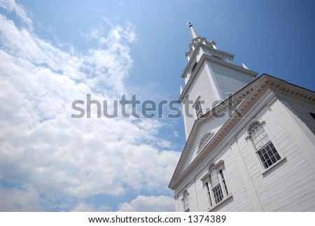 New England Church with room for copy - stock photo