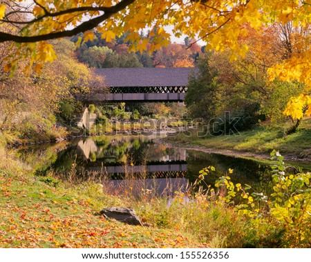 New England Covered Bridge in Autumn - stock photo