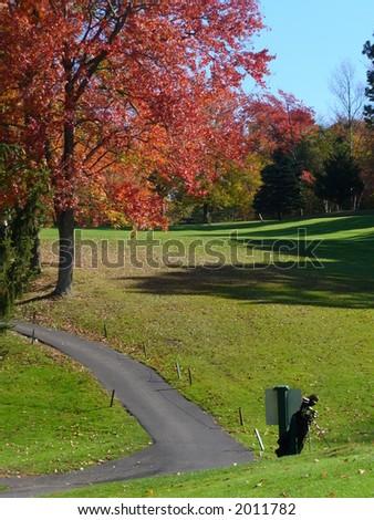 New England Golf Course Fall Foliage - stock photo