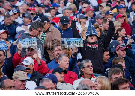 New England Patriots fans root for home team at, Gillette Stadium, New England Patriots vs. the Dallas Cowboys, October 16, 2011, Foxborough, Boston, MA  - stock photo