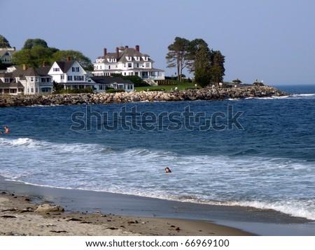 New England Shoreline with Houses - stock photo