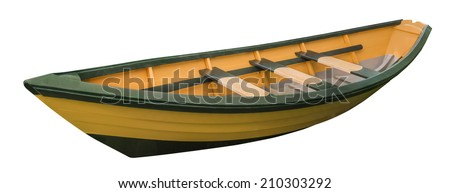 New England wooden Dory rowboat, isolated - stock photo