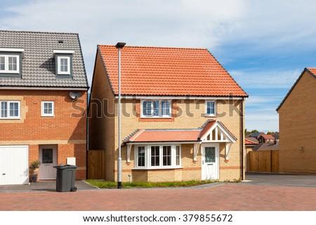 New english elegant houses - stock photo