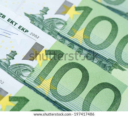 New euro banknotes as a background, close-up - stock photo