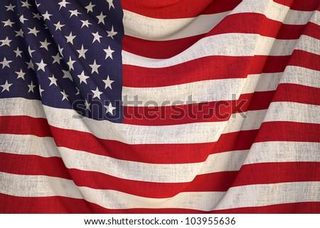 new fabric us flag - close up - stock photo
