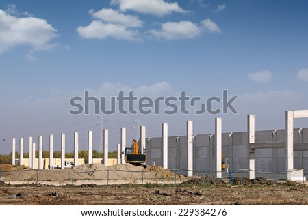 new factory construction site - stock photo